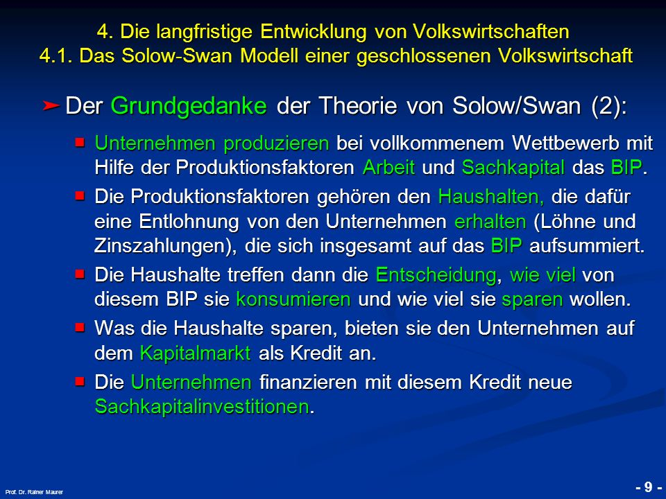 Der Grundgedanke der Theorie von Solow/Swan (2):