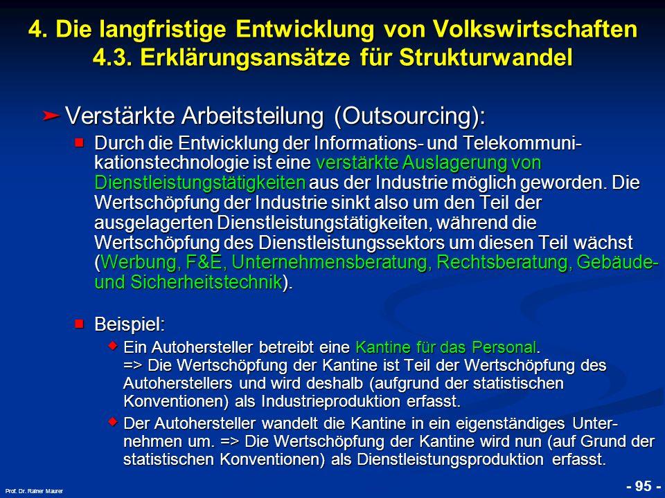 Verstärkte Arbeitsteilung (Outsourcing):