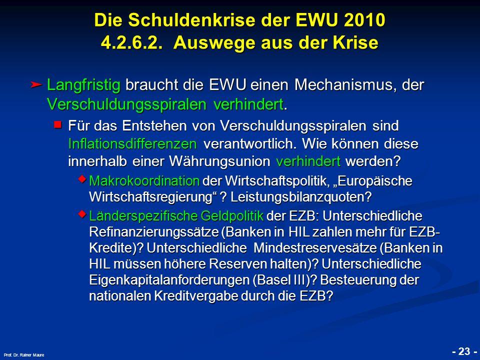 Die Schuldenkrise der EWU 2010 4.2.6.2. Auswege aus der Krise