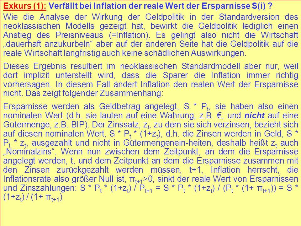 Exkurs (1): Verfällt bei Inflation der reale Wert der Ersparnisse S(i)