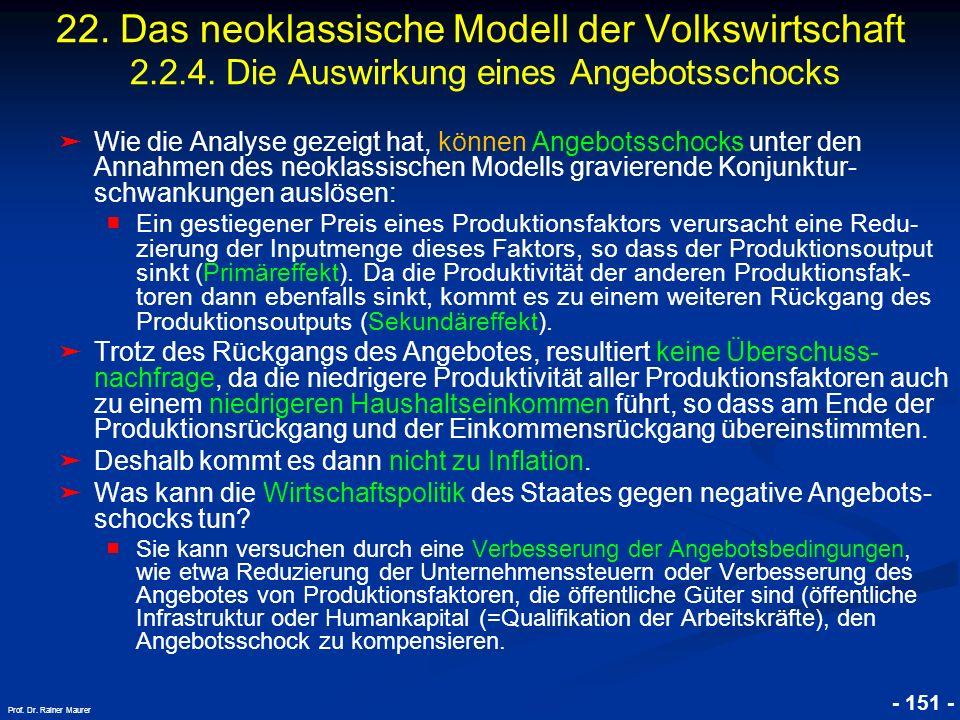 22. Das neoklassische Modell der Volkswirtschaft 2. 2. 4