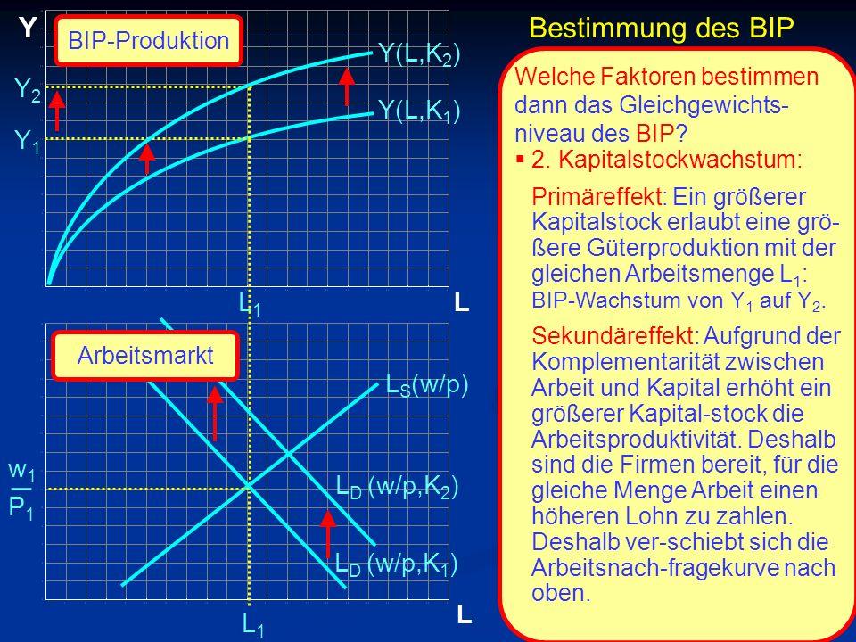 _ Y Bestimmung des BIP Y(L,K2) Y2 Y(L,K1) Y1 L1 L LS(w/p) w1