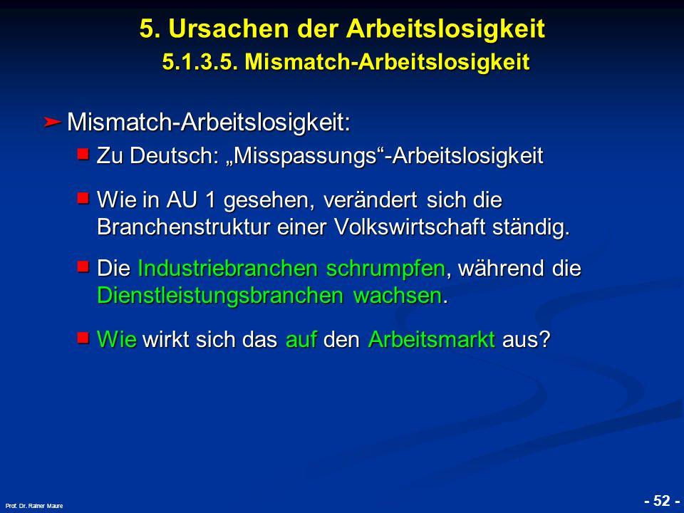5. Ursachen der Arbeitslosigkeit 5.1.3.5. Mismatch-Arbeitslosigkeit
