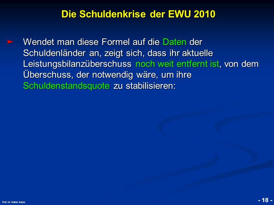 Die Schuldenkrise der EWU 2010