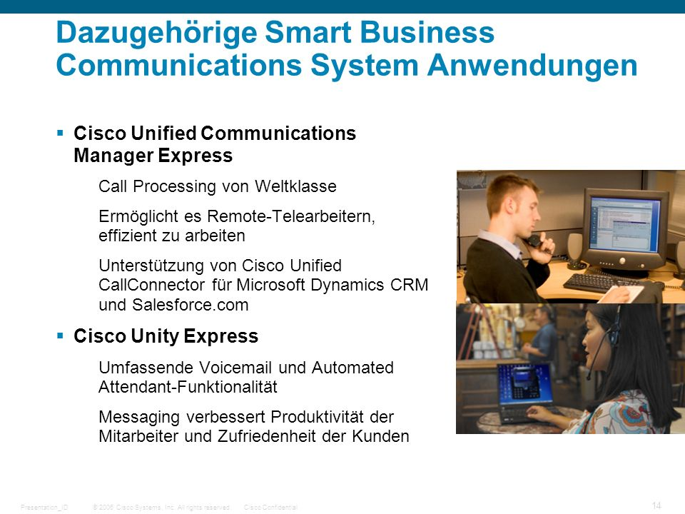 Dazugehörige Smart Business Communications System Anwendungen