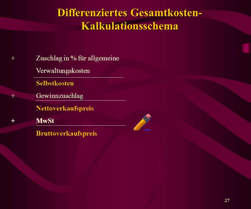 Differenziertes Gesamtkosten- Kalkulationsschema