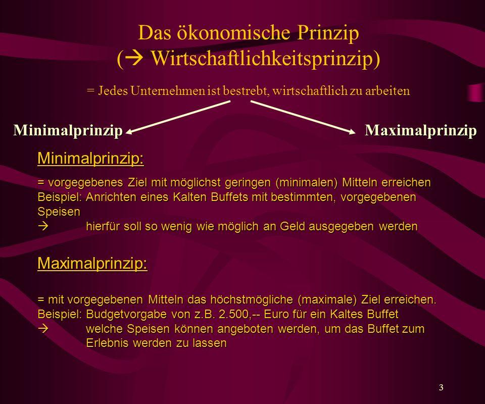Das ökonomische Prinzip ( Wirtschaftlichkeitsprinzip) = Jedes Unternehmen ist bestrebt, wirtschaftlich zu arbeiten