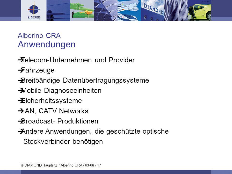 Anwendungen Alberino CRA Telecom-Unternehmen und Provider Fahrzeuge