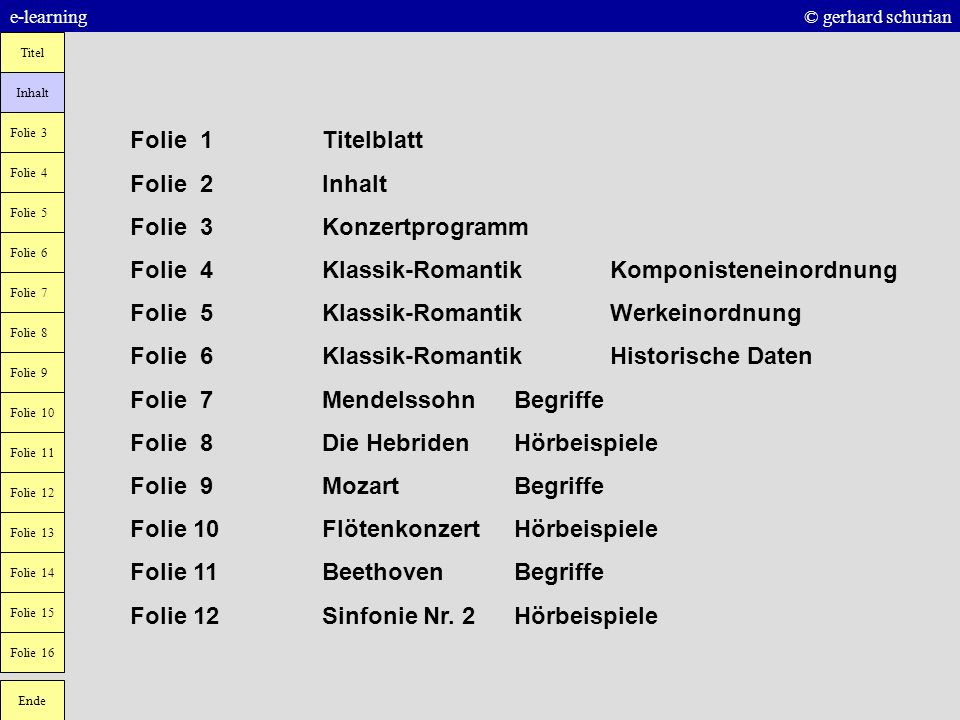 Folie 3 Konzertprogramm Folie 4 Klassik-Romantik Komponisteneinordnung