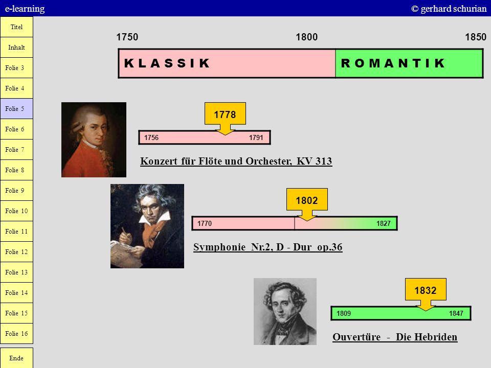 K L A S S I K R O M A N T I K Konzert für Flöte und Orchester, KV 313