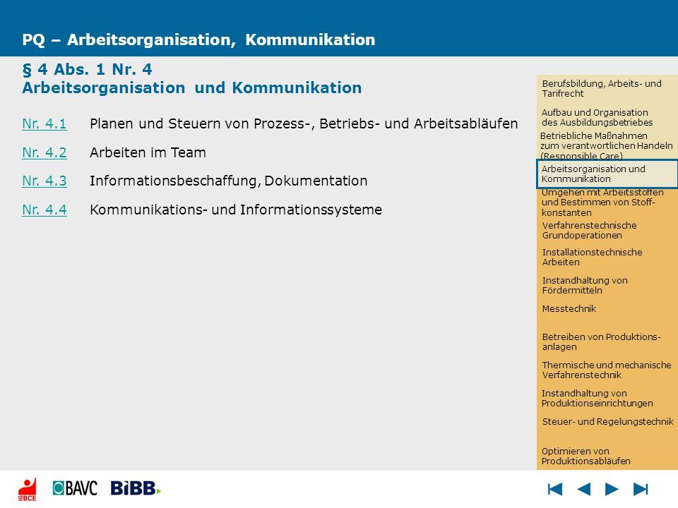 PQ – Arbeitsorganisation, Kommunikation