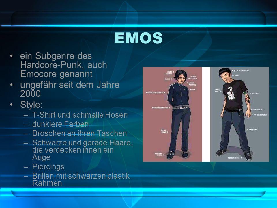 EMOS ein Subgenre des Hardcore-Punk, auch Emocore genannt