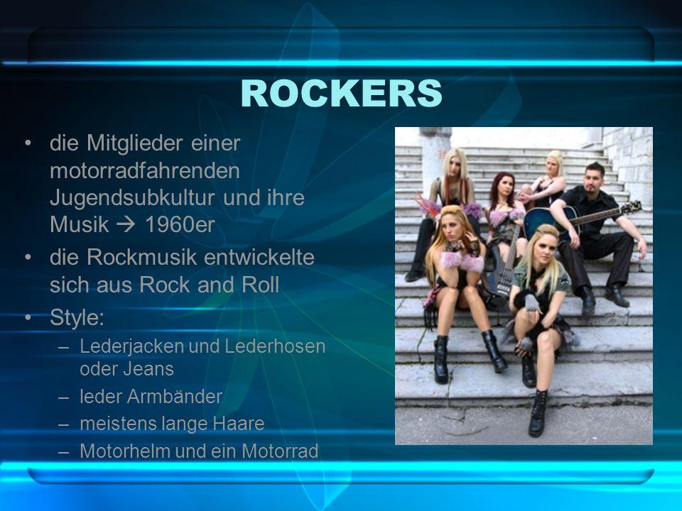 ROCKERSdie Mitglieder einer motorradfahrenden Jugendsubkultur und ihre Musik  1960er. die Rockmusik entwickelte sich aus Rock and Roll.