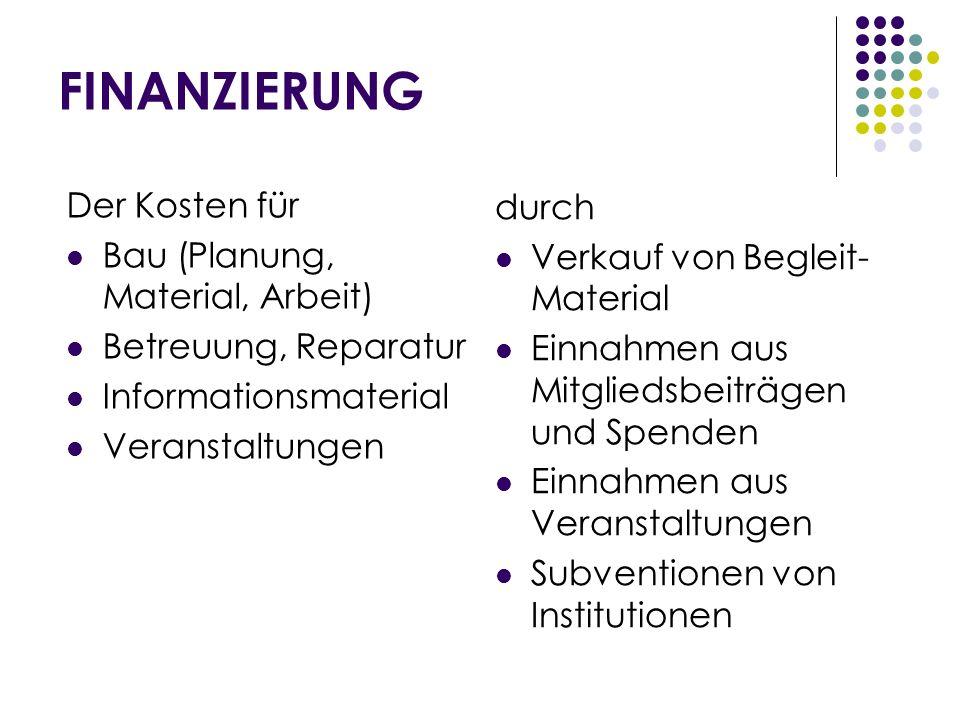 FINANZIERUNG Der Kosten für durch Bau (Planung, Material, Arbeit)