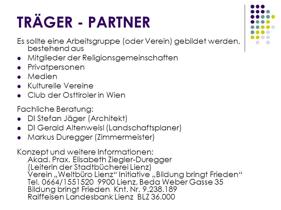 TRÄGER - PARTNER Es sollte eine Arbeitsgruppe (oder Verein) gebildet werden, bestehend aus. Mitglieder der Religionsgemeinschaften.