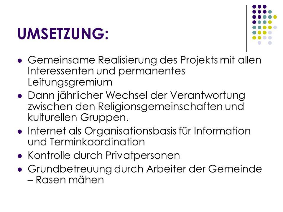 UMSETZUNG:Gemeinsame Realisierung des Projekts mit allen Interessenten und permanentes Leitungsgremium.