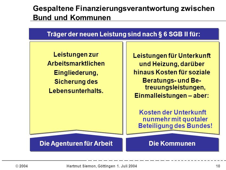 Gespaltene Finanzierungsverantwortung zwischen Bund und Kommunen