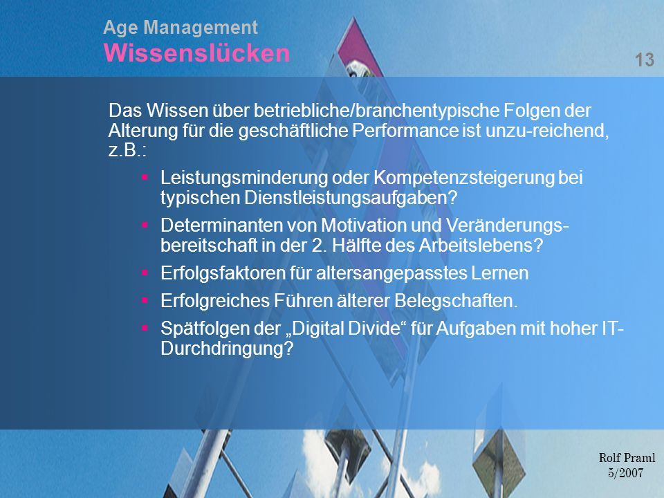 Age Management Wissenslücken