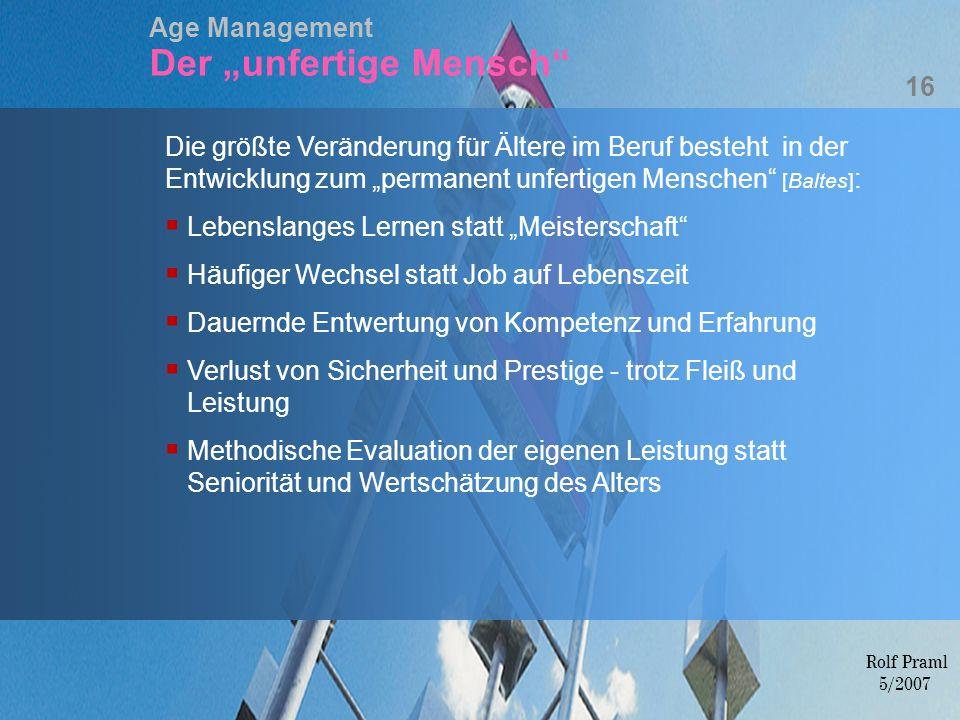 """Age Management Der """"unfertige Mensch"""