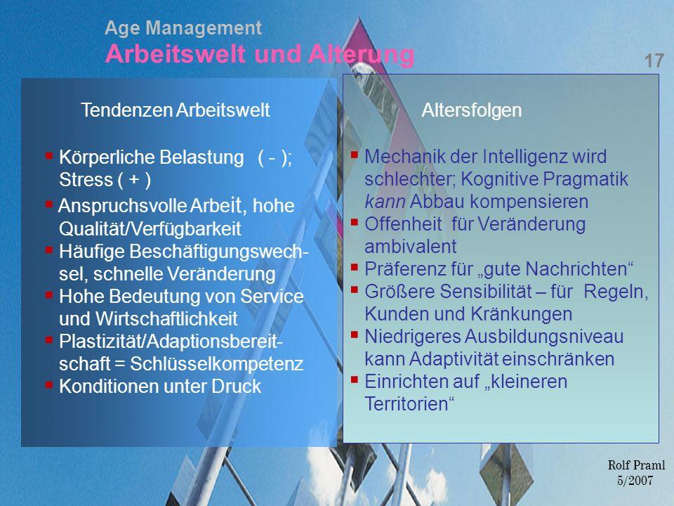 Age Management Arbeitswelt und Alterung