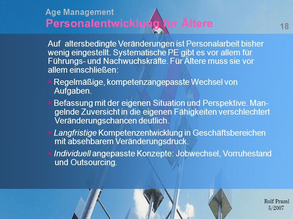 Age Management Personalentwicklung für Ältere