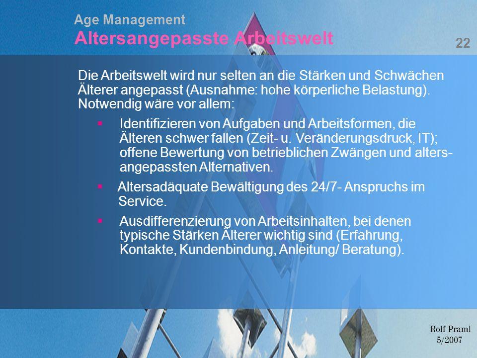 Age Management Altersangepasste Arbeitswelt