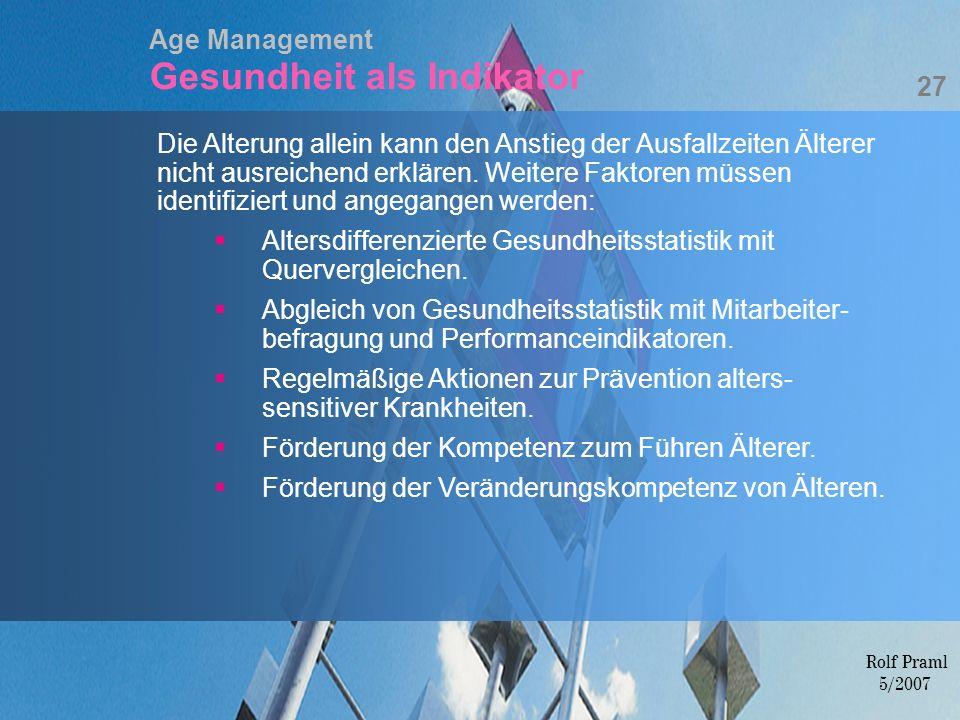 Age Management Gesundheit als Indikator