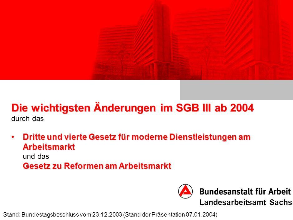 Die wichtigsten Änderungen im SGB III ab 2004 durch das