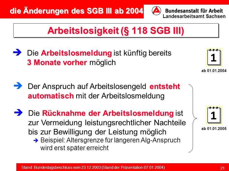 Arbeitslosigkeit (§ 118 SGB III)