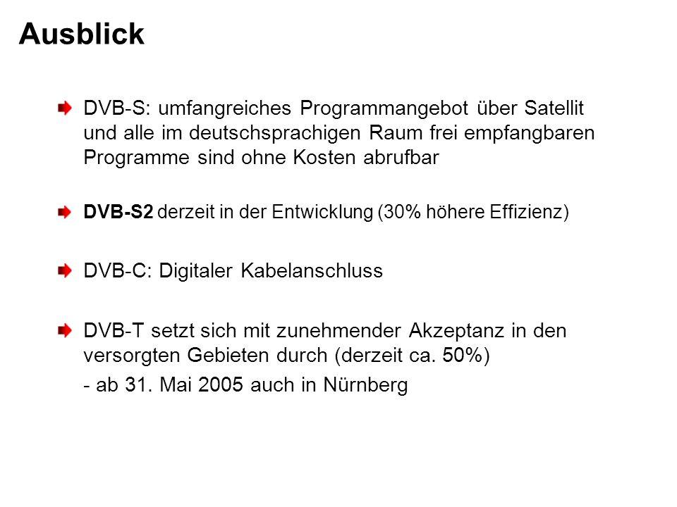 Ausblick DVB-S: umfangreiches Programmangebot über Satellit und alle im deutschsprachigen Raum frei empfangbaren Programme sind ohne Kosten abrufbar.