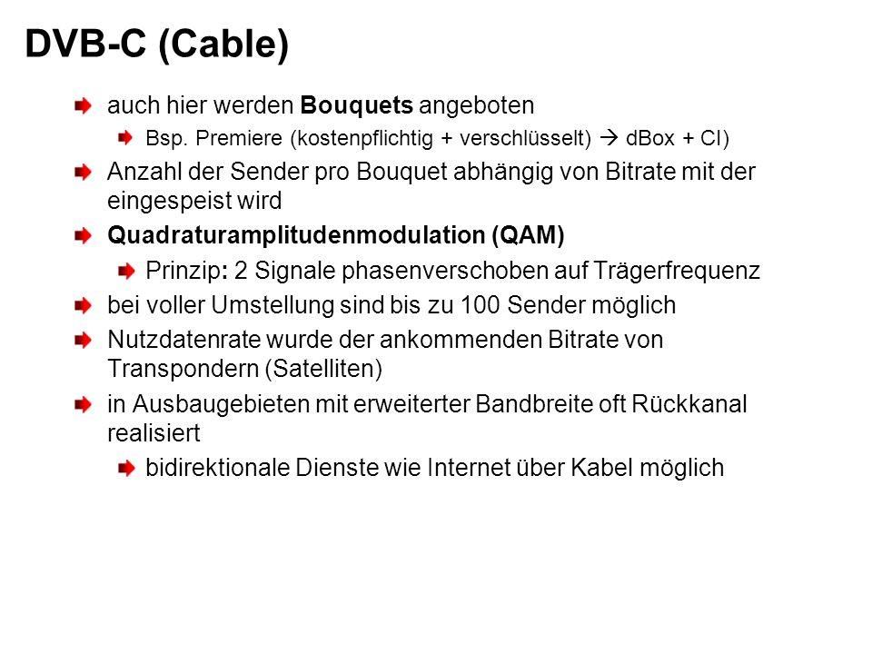DVB-C (Cable) auch hier werden Bouquets angeboten
