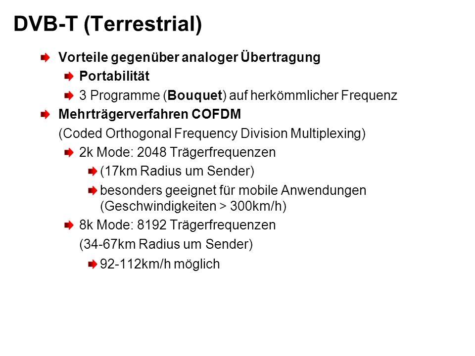 DVB-T (Terrestrial) Vorteile gegenüber analoger Übertragung