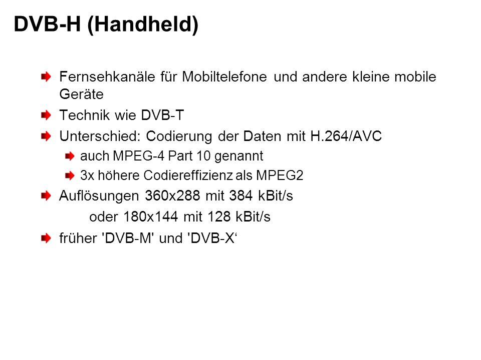 DVB-H (Handheld) Fernsehkanäle für Mobiltelefone und andere kleine mobile Geräte. Technik wie DVB-T.