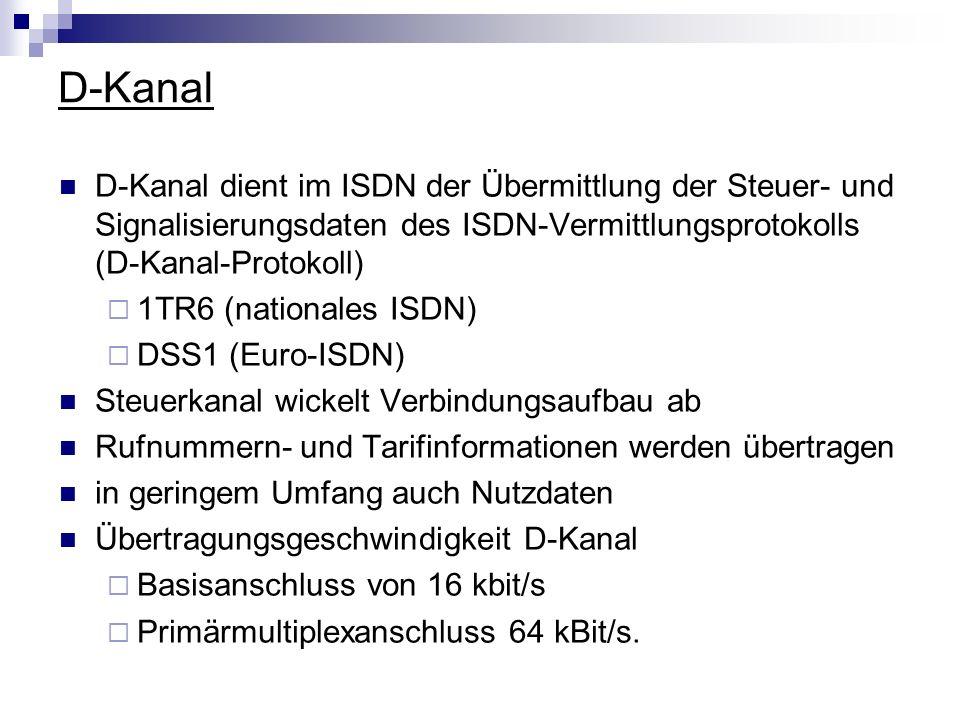 D-KanalD-Kanal dient im ISDN der Übermittlung der Steuer- und Signalisierungsdaten des ISDN-Vermittlungsprotokolls (D-Kanal-Protokoll)