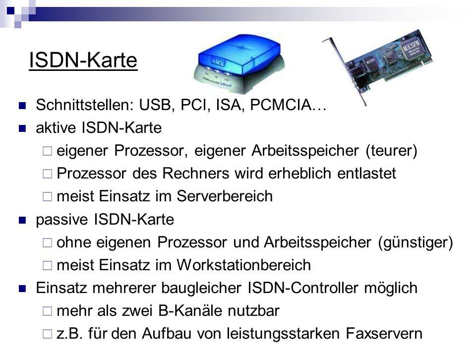 ISDN-Karte Schnittstellen: USB, PCI, ISA, PCMCIA… aktive ISDN-Karte