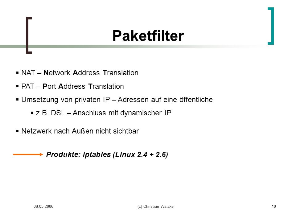 Paketfilter NAT – Network Address Translation