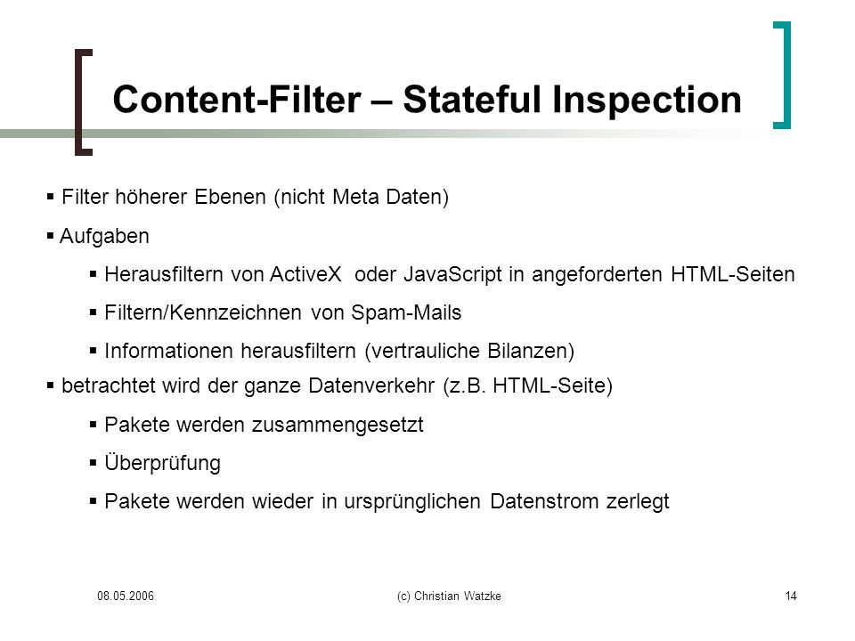 Content-Filter – Stateful Inspection