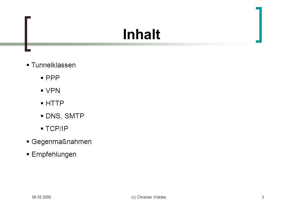Inhalt Tunnelklassen PPP VPN HTTP DNS, SMTP TCP/IP Gegenmaßnahmen