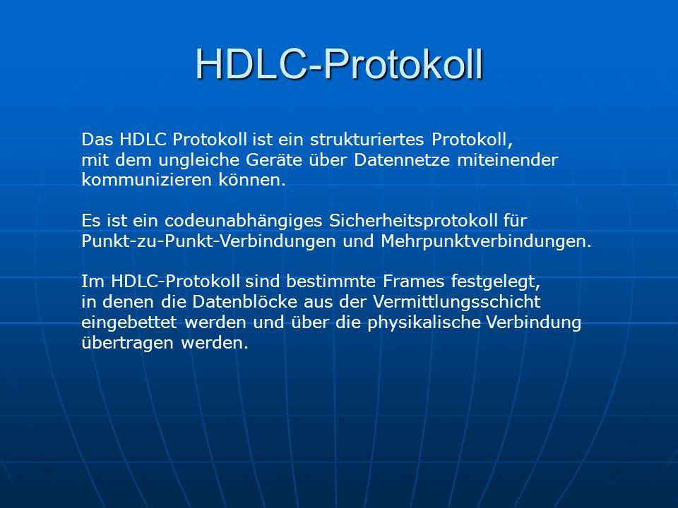 HDLC-Protokoll Das HDLC Protokoll ist ein strukturiertes Protokoll,