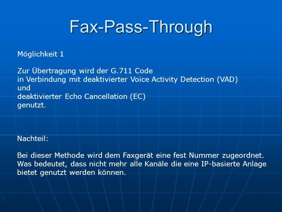 Fax-Pass-Through Möglichkeit 1 Zur Übertragung wird der G.711 Code