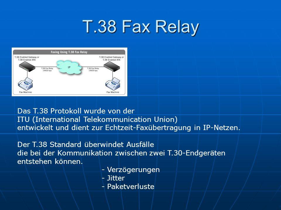 T.38 Fax Relay Das T.38 Protokoll wurde von der