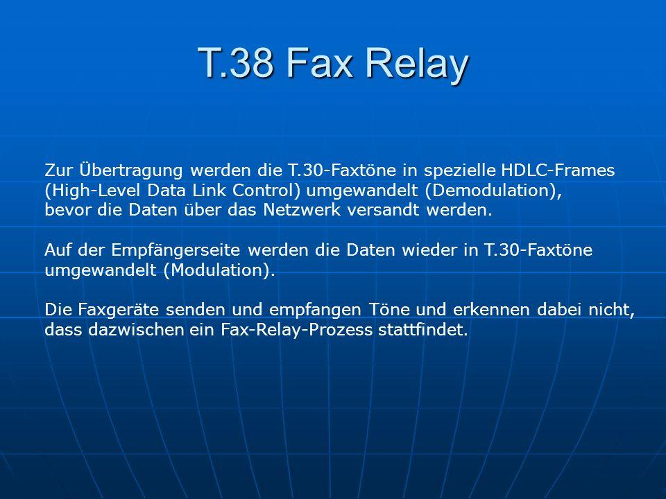 T.38 Fax RelayZur Übertragung werden die T.30-Faxtöne in spezielle HDLC-Frames. (High-Level Data Link Control) umgewandelt (Demodulation),