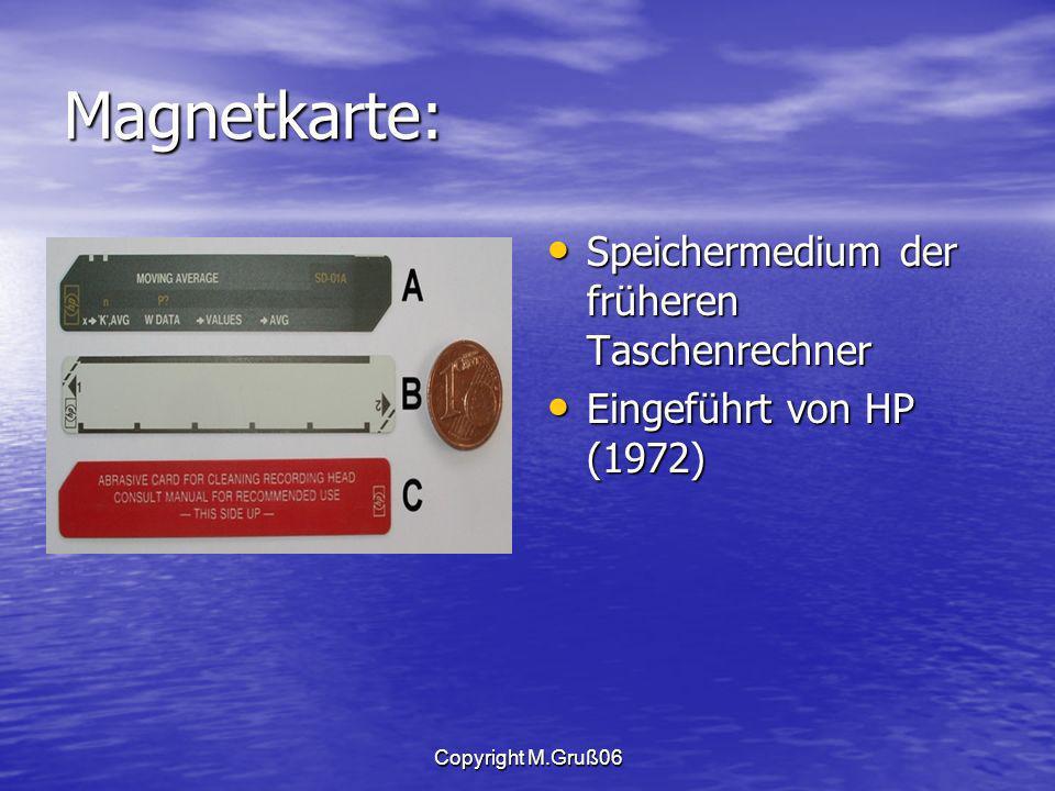 Magnetkarte: Speichermedium der früheren Taschenrechner