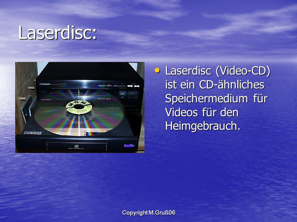 Laserdisc: Laserdisc (Video-CD) ist ein CD-ähnliches Speichermedium für Videos für den Heimgebrauch.