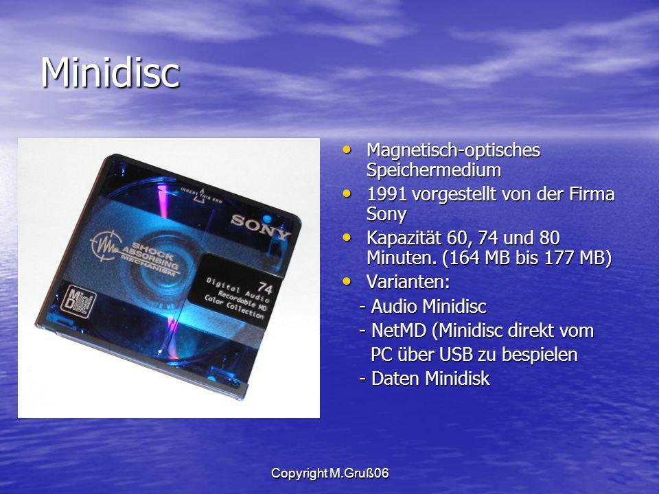 Minidisc Magnetisch-optisches Speichermedium