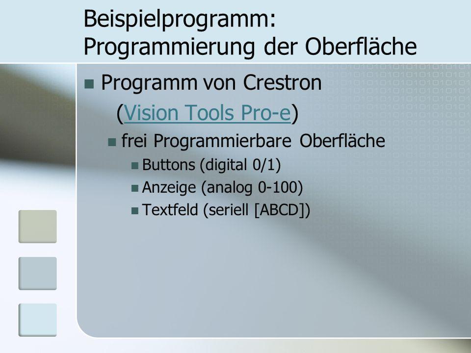 Beispielprogramm: Programmierung der Oberfläche