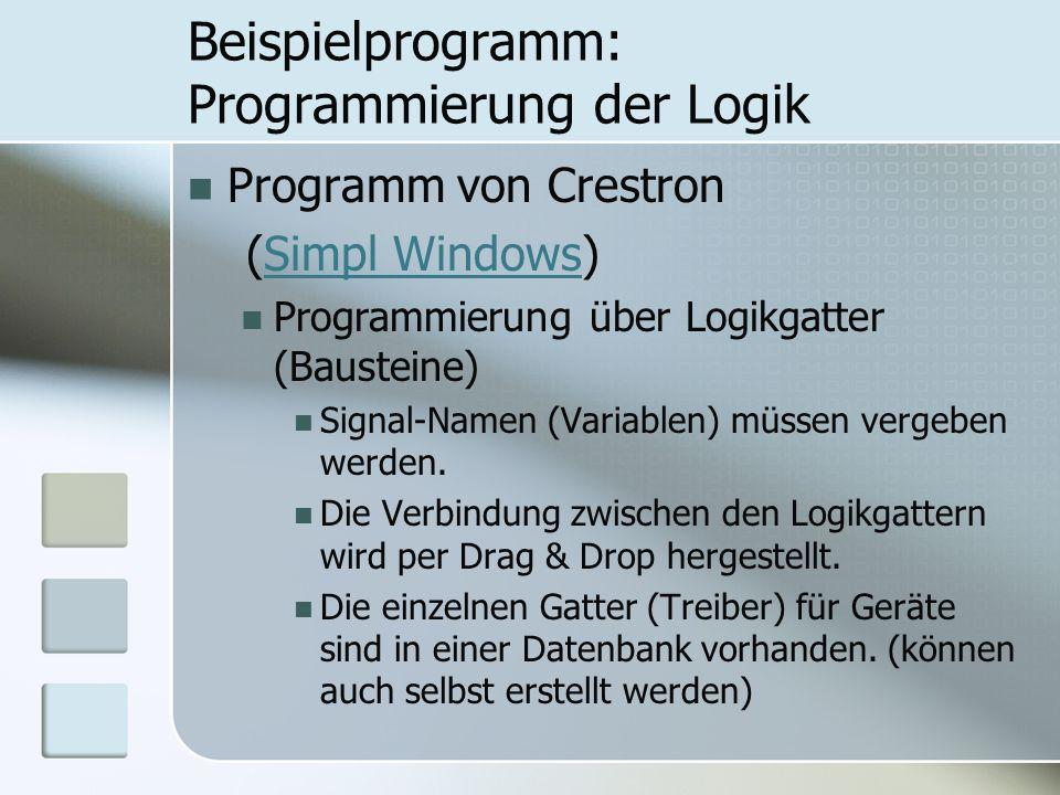 Beispielprogramm: Programmierung der Logik