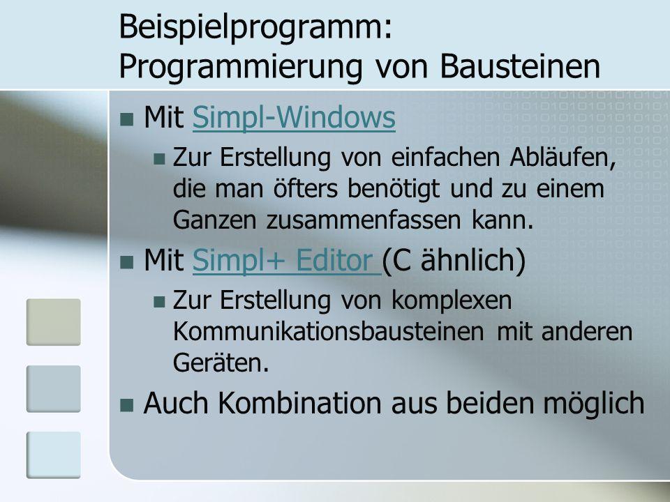 Beispielprogramm: Programmierung von Bausteinen