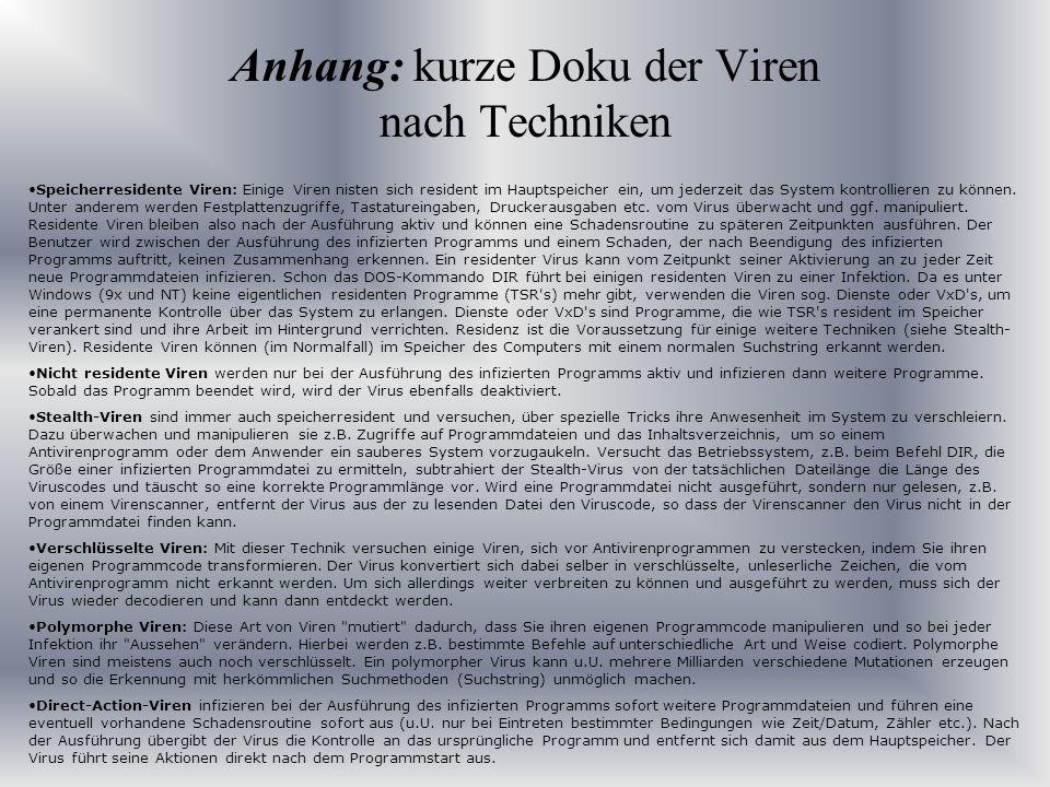 Anhang: kurze Doku der Viren nach Techniken
