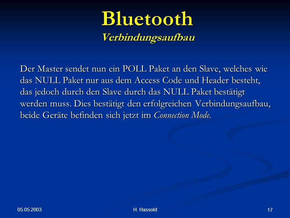 Bluetooth Verbindungsaufbau